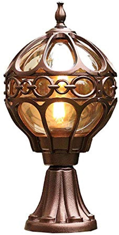 Rishx Europische Retro Edison E27 1-Light Outdoor Patio Pillar Lampe Regendicht Korridor Garten Balkon Glaspfosten Column Light Vintage Wasserdicht Aluminium-Druckguss Wandleuchte