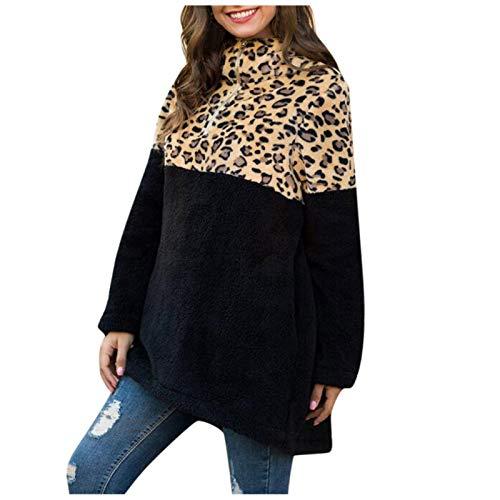 WYZTLNMA Women Sweatshirt Pullover Leopard Patchwork Turleneck Tops Ladies Casual Loose Long Sleeves Autumn Winter Hoodie Black