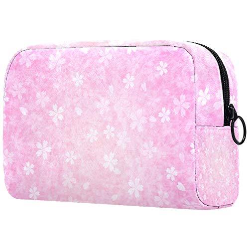 Trousse de toilette portable pour femme - Pour maquillage, cosmétiques, voyage - Pétales roses