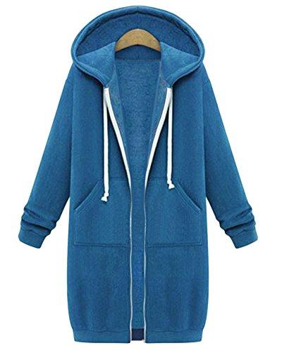 Damen Langarm Fleece Sweatshirt Mantel Zip Hoodies Sweatjacke Kapuzenjacke Kapuzenpullover Sweatshirt Oberteil Blau S