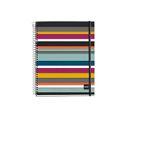 Miquelrius Wirebound Notebook, Oslo Poly Stripes 4-Subject, 6 X 8, College Ruled, Elastic Band Closure