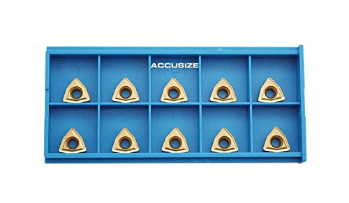 Accusize Industrial Tools Wcmt2.52 Tin Coated Carbide Inserts, 10 Pcs/Box, 2139-1020x10