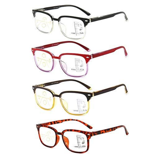 Unisex leesbril, Zie Far And Near Reading Brillen Progressive Multifocal Vintage frame Lichtgewicht Transparant Anti-blauw licht voor mannen Vrouwen (4 stuks),+ 3.5