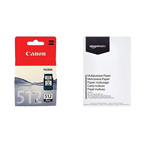 Canon PG-512 Cartuccia Originale Getto d'Inchiostro, 1 Pezzo, Nero & Amazon Basics Carta da stampa multiuso A4 80gsm, 1 risma, 500 fogli, bianco