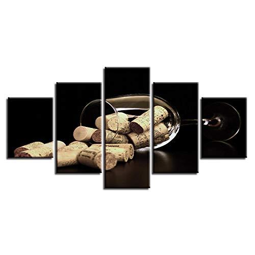 SJLAQ Copas de Vino y corchos Pintura de Lienzo Modular Cuadro de Arte de Pared 5 Piezas Póster de impresión Decoración para Sala de estar-40x60 40x80 40x100cm Sin Marco