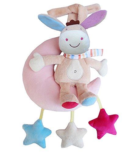 Xiaojie Cama de bebé campana 0-1 año de edad, reloj de música de tirar de la campana de felpa cochecito colgante de 3-12 meses de juguete