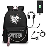 N-B Stranger Things Backpack with USB Charging Port for 14-Inch Laptop Notebook, Water-Repellent Casual Rucksack for Women Men Schoolbag Students Daypack College Travel JO