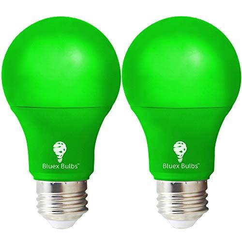2 Pack BlueX LED A19 Green Light Bulb - 9W (60Watt Equivalent) - E26 Base LED Green Lights, Party Decoration, Porch, Home Lighting, Holiday Lighting, Decorative Illumination Green Bulb
