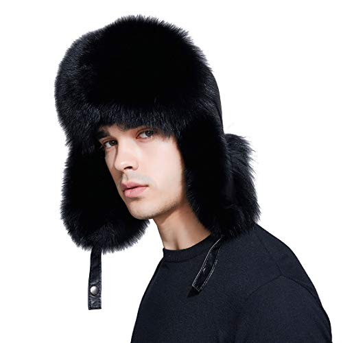 BeFur Men Fur Hat Winter Real Fox Fur Genuine Leather Russia Aviator Hats Ushanka Hats Lamb Leather Caps Bomber Hat Black