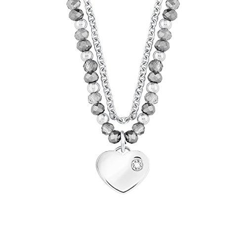 s.Oliver Damen-Kette 42+3 cm verstellbar mit Herz-Anhänger Edelstahl Glassteine