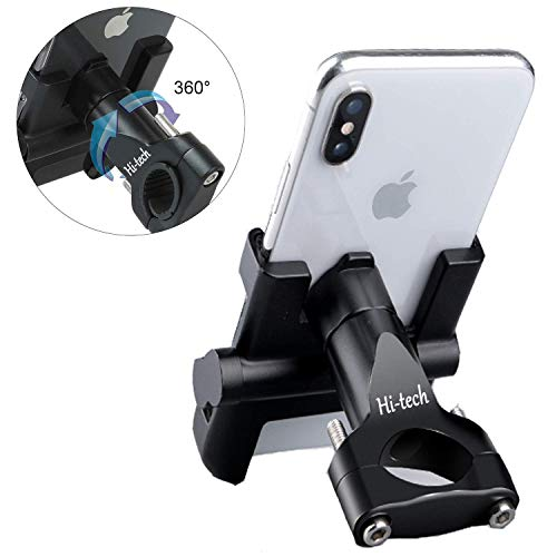 Hi-Tech Supporto per Telefono Bici Moto Smartphone Supporto del Smartphone Manubrio per Smartphone GPS in Lega di Alluminio + Tappetino in Silicone per iPhone/Samsung/Huawei con Rotazione a 360 Gradi