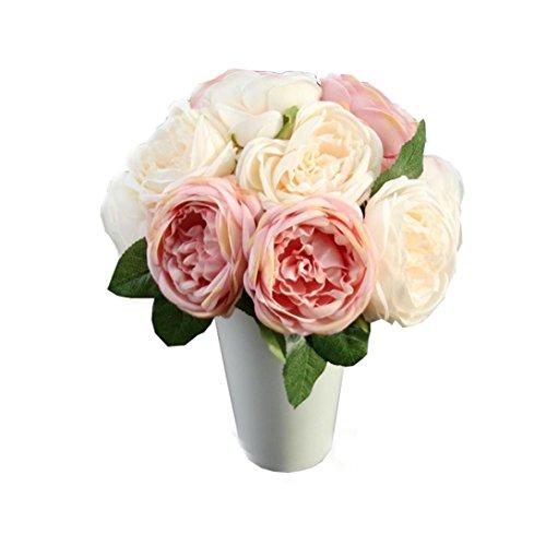 Longra Wohnaccessoires & Deko Kunstblumen Künstliche Rose Silk Blumen 5 Blüte Blatt Garten Dekoration DIY rosa Blume (Pink)