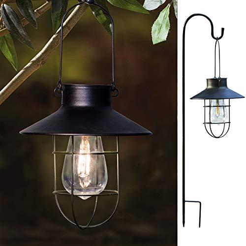 Solarlaternen für Außen,Hängende Solarlampe für Außen Gartendeko Weiß Solar Gartenlaterne Metall Edison Bulb Wasserdicht