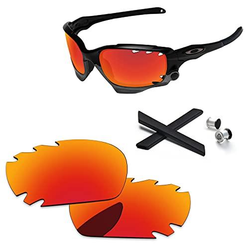 PapaViva Ersatzlinsen & Gummi-Kits für for Oakley Jawbone Vented Feuerrot