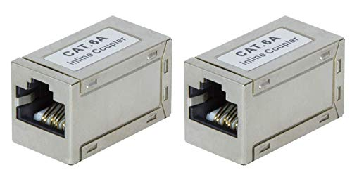 Faconet 2 unidades CAT 6A LAN hembra RJ45 adaptador POE cable de patch alargador LAN cable CAT7 apantallado delgado versión pequeña 10 Gigabit