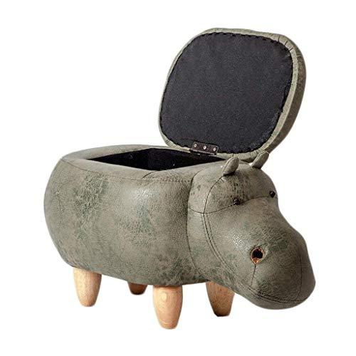 FVGH kruk voor dieren, met gestoffeerd kussen, voetenbank, met gestoffeerde zitzak en 4 houten voeten, voor kinderen of volwassenen, Nilpaard (kleur: grijs, maat: B) B-green