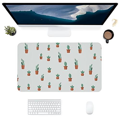 HUBNYO Alfombrilla de escritorio de piel cactusen en maceta, superficie lisa, fácil de limpiar, resistente al agua, protector de escritorio para la oficina/juegos en el hogar