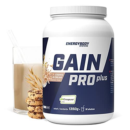 """Energybody Gain Pro Plus """"Cookie & Cream"""" 1.350 g / Masse Shake für Massephase mit Kreatin & Whey Protein / Weight Gainer zum Zunehmen / Mass Gainer / 18 Portionen"""
