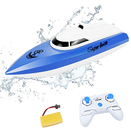 RC Boat - Remote Control Boat for Pools and Lakes for Kids, 2.4Ghz Fast Racing Boat with Rechargeable Battery Self Righting Electric Toys Gifts for Adults Boys Girls(Blue)
