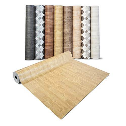 casa pura® CV Bodenbelag Mombasa - extra abriebfester PVC Bodenbelag (geschäumt) - Eiche Natur - edle Holzoptik - Oberfläche strukturiert - Meterware (200x100 cm)