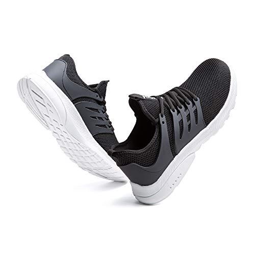 Sicherheitsschuhe Herren Damen Leicht Arbeitsschuhe Stahlkappe Sneaker Arbeit Turnschuhe Sportlich Atmungsaktiv Safety Shoes rutschfest Schwarz und Weiß-2 47 EU