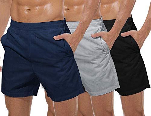 COOFANDY Pack de 3 pantalones cortos de malla para hombre, para levantamiento de pesas, con bolsillo Negro Gris Azul Marino M