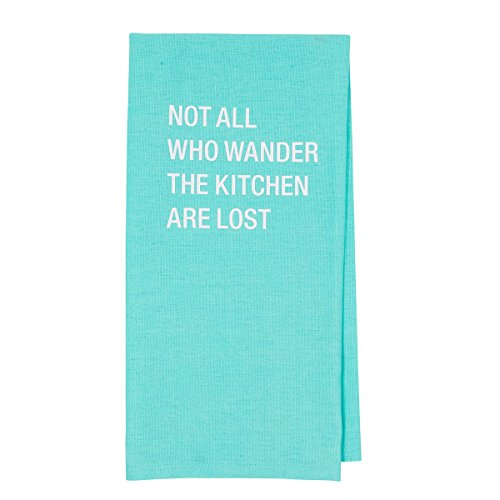 About Face Designs Not All Who Wander The Kitchen are Lost Cotton and Linen Dish Towel, 26.5 x 19 Inch, Teal