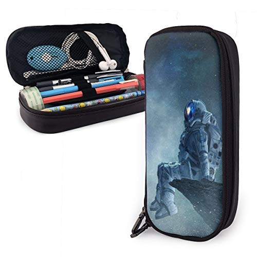 Astronaut Leather Portable Pencil Case Pencil Bag, Gadget Bag, Or Small Cosmetic Bag Suitable for Students and Office