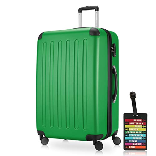 Hauptstadtkoffer - Spree, Luggage Suitcase Hardside Hard Shell Spinner Trolley 4 Wheel Case, TSA, 75 cm, 119 Liter, Green +Luggage tag
