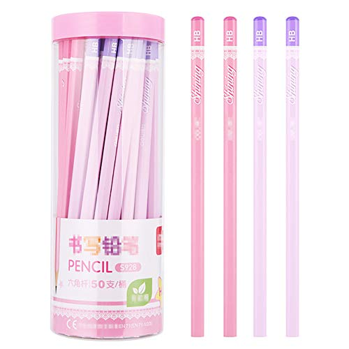鉛筆 えんぴつ 6角軸 2B HB 鉛筆エコな 天然木素材 50本 セット かわいい 文房具 小学生 入学 準備 入学祝いにも HB-pink