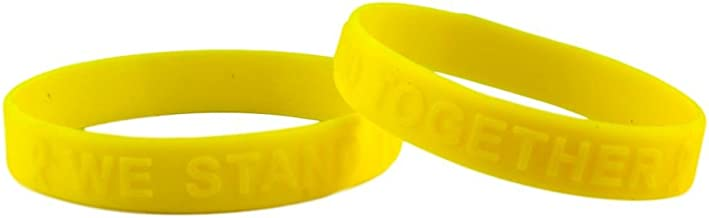 Yellow Ribbon Awareness Embossed Silicone Bracelet Buy 1 Give 1-2 Bracelets &