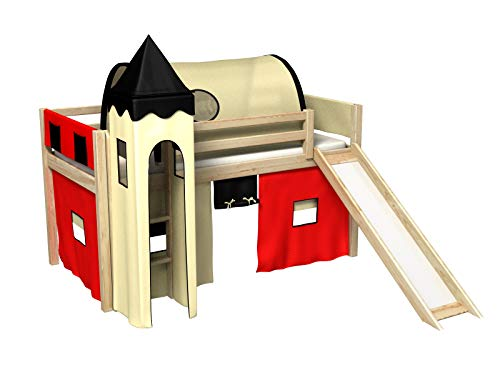 Bociek Meble Cama con tobogan,Torre,Tunel,2 x Bolsillos,Cortinas,colchón,Cama de Juego,Cama para niños,de Alta,Muchos Colores (PINO-2012)