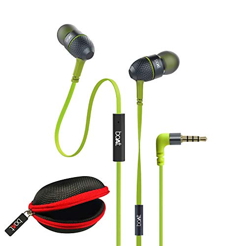 boAt BassHeads 225 Wired in Ear Earphone with Mic (Neon Lime)