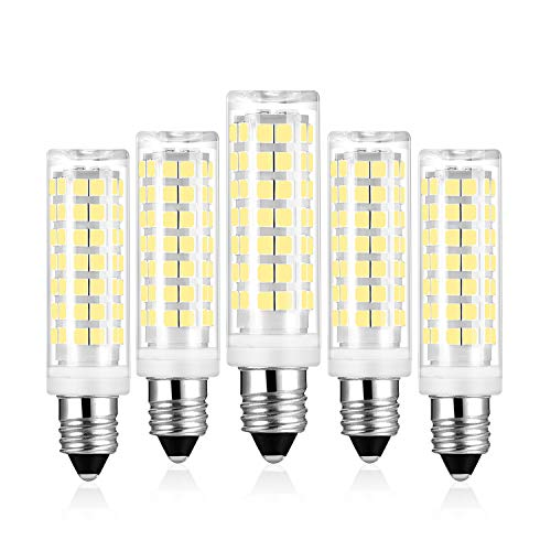 E11 LED Bulbs Daylight White, 6W Equivalent 50W 60W Halogen Bulbs, 6000K, 530LM e11 Mini Candelabra Base LED Light Lamp, AC 120V CRI 82, Not Dimmable (5 Pack) by Yomis