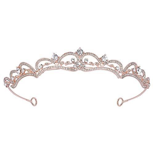 [BABEYOND]クラウン ティアラ 頭飾り レディス ウェディング 結婚式 ブライダル 花嫁 ページェント おしゃれ ラインストーン パーティー 卒業式 誕生日 コスプレ 王冠 女王 プリンセス プレゼント 女性 (2-ローズゴールド)