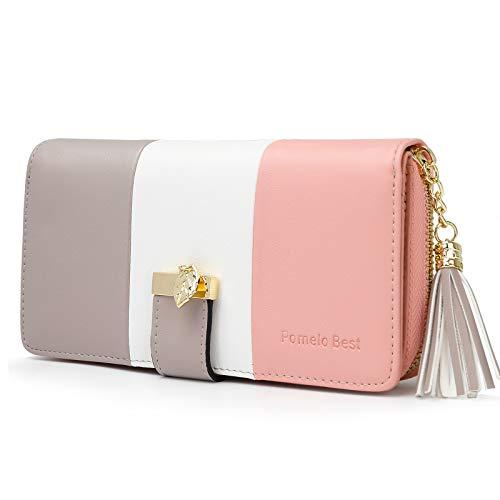 Portafoglio Donna Pelle sintetica Lungo con pendente Portamonete chiusura con cerniera (Rosa/bianco/gris)