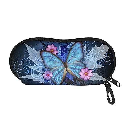 Renewold Estuche para gafas, suave gafas y gafas de sol, bolsa portátil con clip para mujeres niñas, azul vintage mariposa arce hoja
