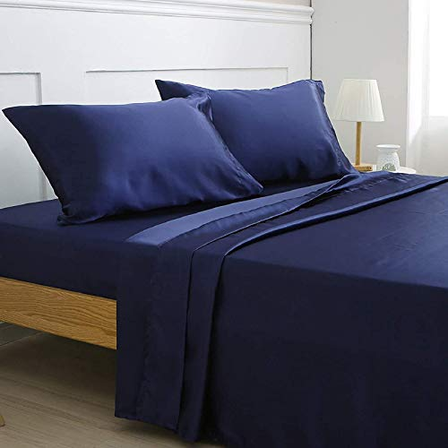 Vonty Satin Sheets Queen Size Silky Soft Satin Bed Sheets Navy Blue Satin Sheet Set, 1 Deep Pocket Fitted Sheet + 1 Flat Sheet + 2 Pillowcases