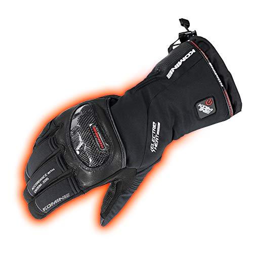 コミネ(KOMINE) バイク用 カーボンプロテクトエレクトリックグローブ ブラック L EK-200 秋冬春向け 防水 防寒 カーボン ストレッチ素材 電熱
