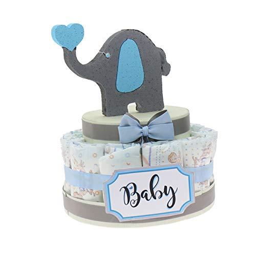Torta Pannolini Idea Regalo Economico Bimbo, Baby Shower Idea Originale Nascita Neonato (Torta da 15 Pannolini)