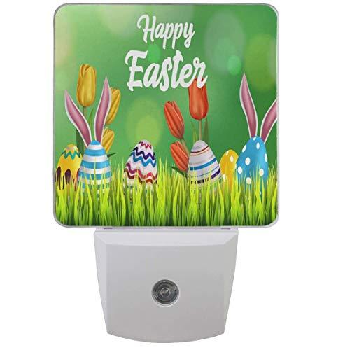 Easter Eggs Bunny Ear Nachtlicht Plug-In Set mit 1 Spring Poppy Flowers Nightlights Auto Dämmerung-Dämmerung Sensorlampe