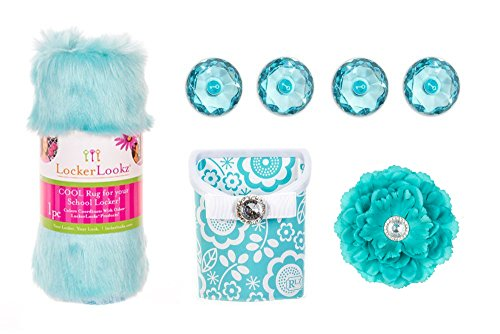 Locker Lookz Rug, Magnetic Storage Flower Bin and Flower Set 2016 Limited Edition (Bundle of 4) (Aqua Blue Poppy)