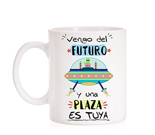 MardeTé Taza Opositor. Vengo del Futuro y una Plaza es Tuya. Taza de oposiciones para Regalo al Estudiante