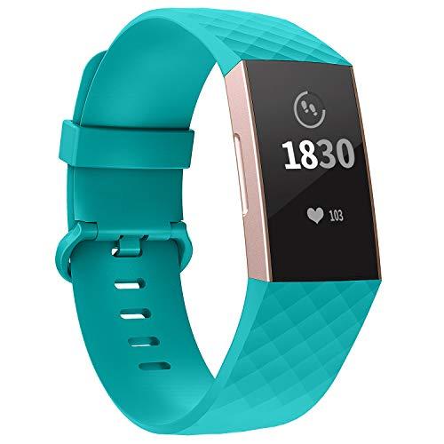 Adepoy für Fitbit Charge 3 Armband, Verstellbarer klassischer Sport Ersatzarmband Kompatibel mit Fitbit Charge 3/ Charge 3 SE, Damen Herren (Türkis, Klein)