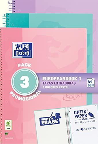 Oxford, Cuadernos A4, Pack de 3 Libretas A4 Microperforadas Europeanbook 1, Tapa Extradura, Espiral, A4+, Cuadrícula 5x5, Colores Pastel