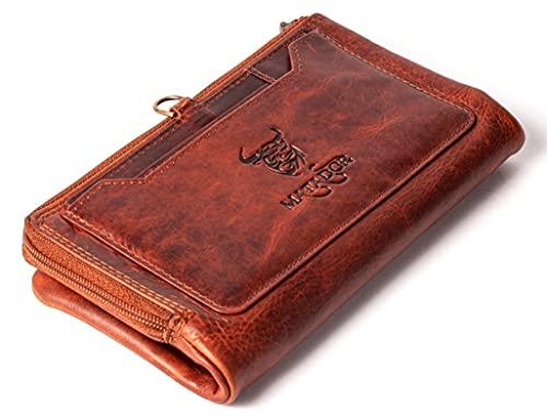 MATADOR Clutch Geldbörse für Damen und Herren Gross Viele Fächer - TÜV geprüfter RFID & NFC Schutz - Handgefertigtes Portemonnaie aus hochwertigem Premium Leder inkl. Geschenk-Box (Vintage Braun)