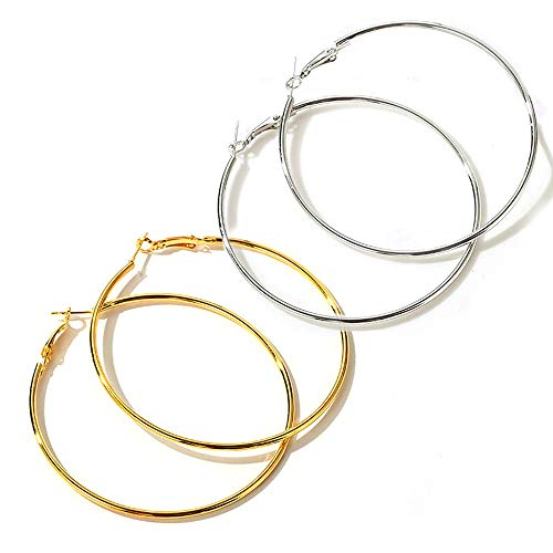 Uni-Fine 2 Pack Big Hoop Earrings, Stainless Steel Big Hoop Earrings Silver Gold Hypoallergenic Earrings Big Earrings for Women Girls Gift (50MM)