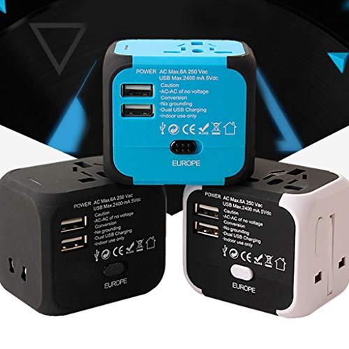 DUOER home Adaptador de Viaje Global, convertidor Internacional de Enchufe de energía Universal, con 2 Puertos USB, Todos en un Enchufe de Cargador (Color : Orange)