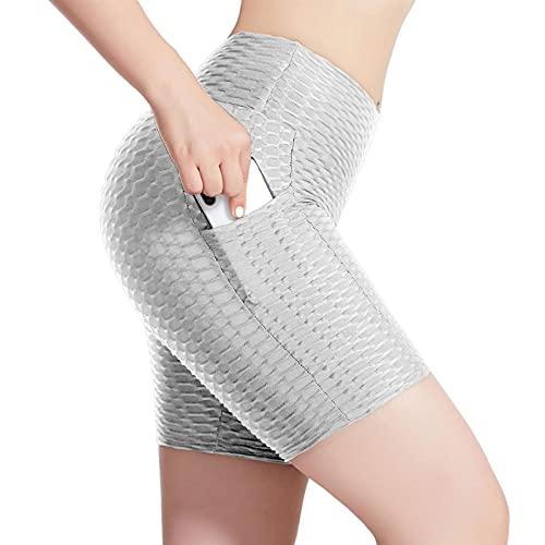 Hhwei Leggings Push Up Mujer Alta Cintura Elásticos Mallas de Deporte Pantalones Deportivos Yoga Fitness