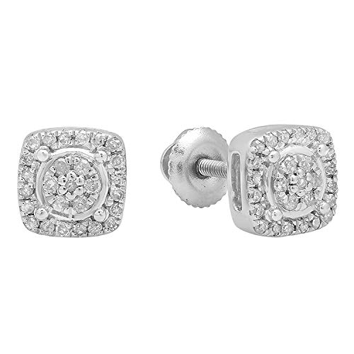 0.20 Carat (ctw) Round White Diamond Ladies Cluster Style Stud Earrings 1/5 CT, Sterling Silver